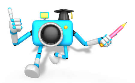 The best gesture of the left hand is taking Master Blue Camera Character. The right hand grasp pencil. Create 3D Camera Robot Series.