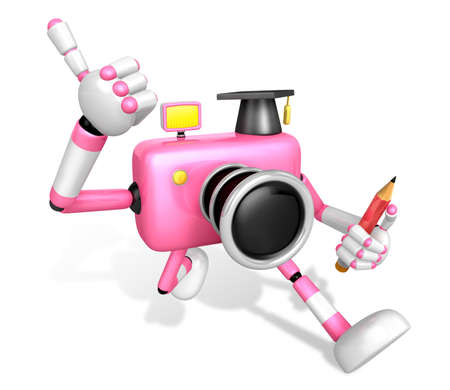 The best gesture of the right hand is taking Master Pink Camera Character. The Left hand grasp pencil. Create 3D Camera Robot Series.