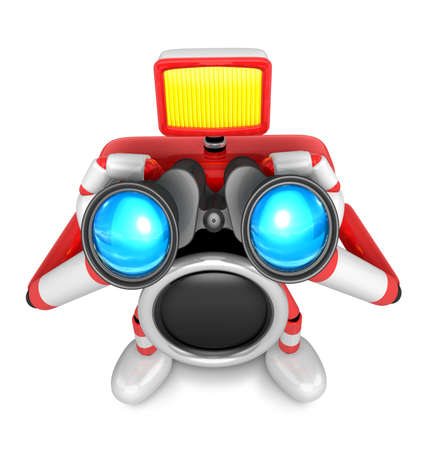 3D Red camera Character telescopes looking towards the front. Create 3D Camera Robot Series.