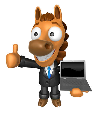 quartet: 3D Horse Mascot the left hand best gesture and right hand is holding a laptop. 3D Animal Character Design Series. Stock Photo