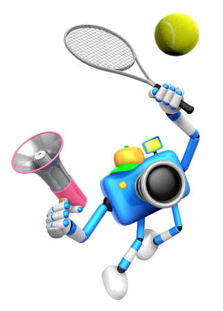 3D Blue Camera-personage is een krachtige tennisgame-speloefening. Creëer 3D Camera Robot Series. Stockfoto