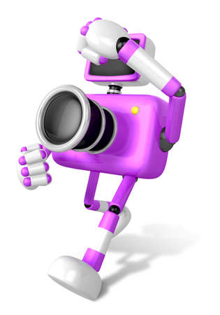 A purple Camera Character and a boxing play. Create 3D Camera Robot Series. Stock Photo