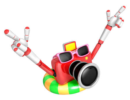 the furlough: Red Camera Character dip tube ride. Create 3D Camera Robot Series.