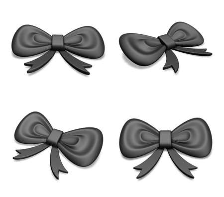 differ: 3D Provisions black ribbon icons. 3D Icon Design Series.