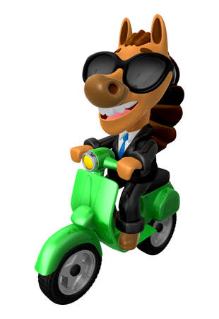 3D Horse character the Green motorbike driving. 3D Animal Character Design Series.
