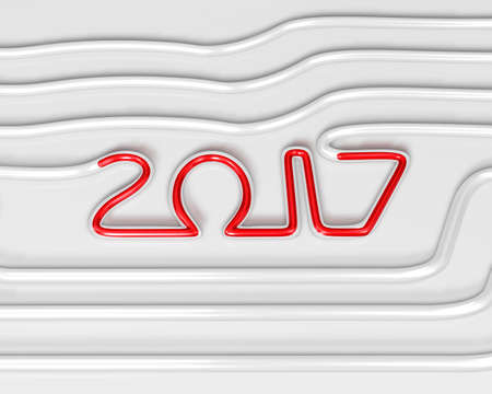 Glass Tube Art and 2017. New Year Typographic Arts Card.