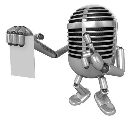 apprehension: 3D Classic Microphone to right hand hush gestures and left hand is holding a document. 3D Classic Microphone Robot Character Series.