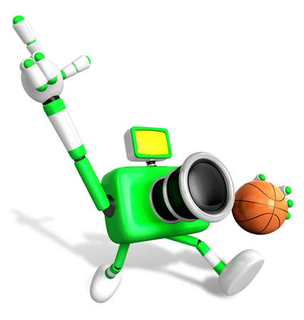 fidelidad: 3D green camera character holding a basketball running. Create 3D Camera Robot Series Foto de archivo