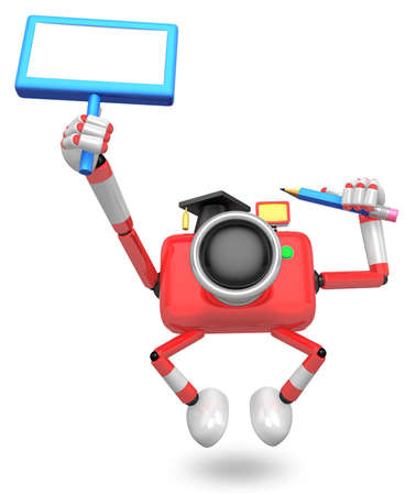 The left hand Holding the board Teacher Red Camera Character. The right hand grasp pencil. Create 3D Camera Robot Series.