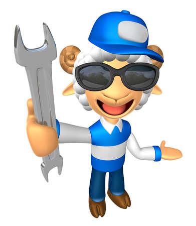 선글라스 3D 서비스 양 마스코트를 착용하고 왼손잡이는 오른손으로 렌치를 잡고 있습니다. 3D 동물 캐릭터 디자인 시리즈입니다.