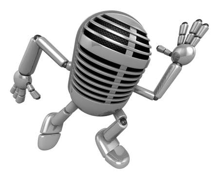3D Classic Microphone Mascot on Running. 3D Classic Microphone Robot Character Series.