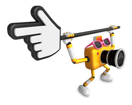 That Yellow Camera holding a large cursor indicate a direction. Create 3D Camera Robot Series.