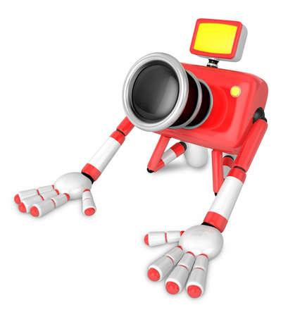 Red Camera Character kneel in prayer. Create 3D Camera Robot Series.