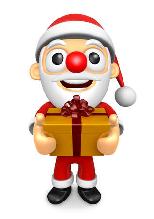 The 3D Santa Mascot holding a big Gift Box. 3D Christmas Character Design Series.