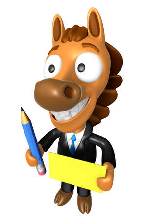 quartet: 3D Horse Mascot hand is holding a Yellow paper and Pencil. 3D Animal Character Design Series. Stock Photo