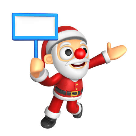 publicize: 3D Santa mascot the left hand guides and the right hand is holding a picket. 3D Christmas Character Design Series.