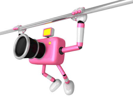 3D Pink Camera character is doing a vigorous horizontal bar workout. Create 3D Camera Robot Series.