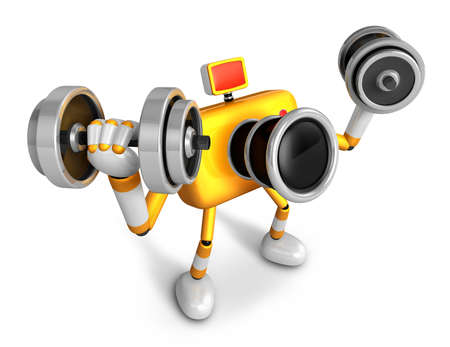 3D Yellow Camera character a Dumbbell curl Exercise. Create 3D Camera Robot Series. Imagens