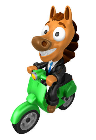 quartet: 3D Horse character the Green motorbike driving. 3D Animal Character Design Series.
