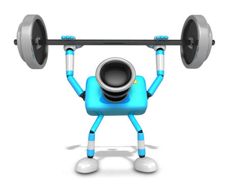 3D Cyan Camera character a Barbell Shoulders Press Exercise. Create 3D Camera Robot Series. Imagens