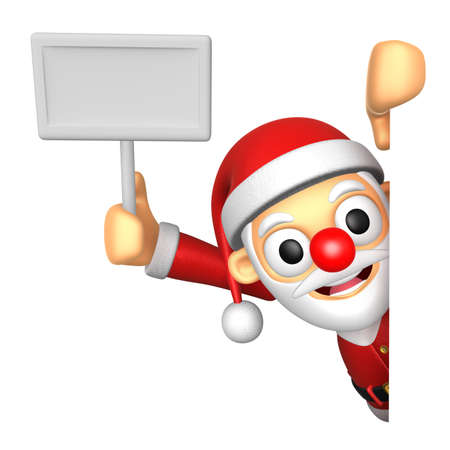 publicize: 3D Santa mascot hand is holding a picket and board. 3D Christmas Character Design Series.