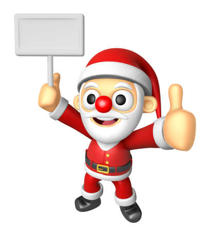 3D Santa Mascot the right hand best gesture and left hand is holding a picket. 3D Christmas Character Design Series.