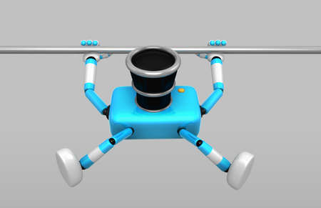 3D Cyan Camera character is doing a vigorous pullup. Create 3D Camera Robot Series. Imagens