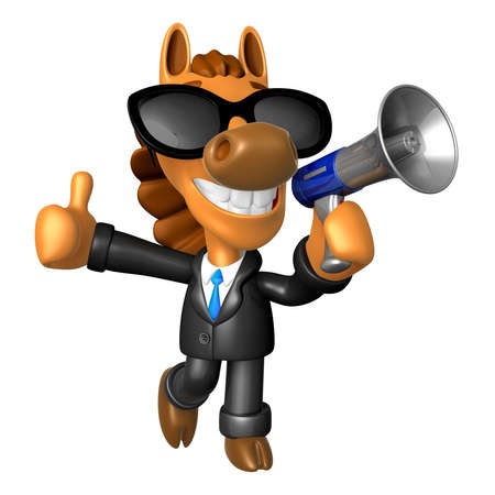 quartet: Wear sunglasses 3D Horse Mascot the left hand best gesture and right hand is holding a laptop. 3D Animal Character Design Series.