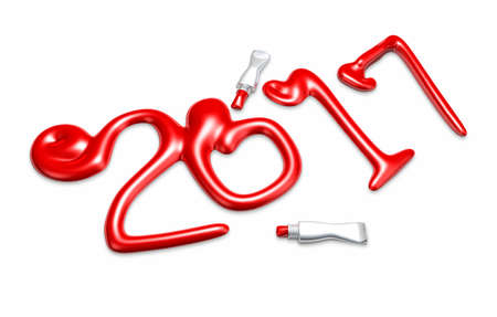 paintcan: Made In Paints 2017 Year. New Year Typographic Arts Card. Stock Photo