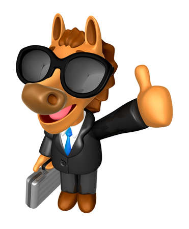 Wear sunglasses 3D Horse Mascot the right hand best gesture and left hand is holding a briefcase. 3D Animal Character Design Series. Stock Photo