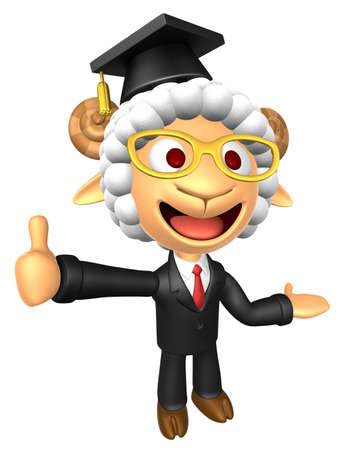 aries: 3D Doctor Sheep mascot the left hand guides and the right hand best gesture. 3D Animal Character Design Series.