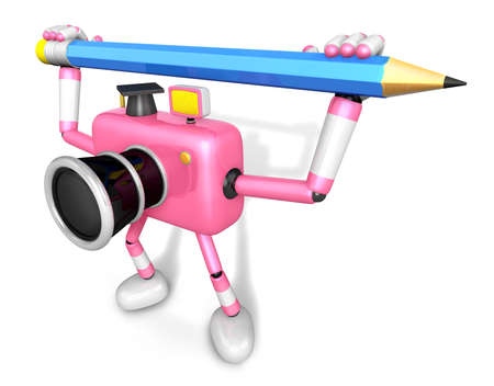 Pink camera with both hands holding a large pencil. Create 3D Camera Robot Series.