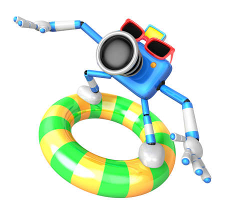 literacy: 3d Blue Camera character surfing on lifebuoy. Create 3D Camera Robot Series. Stock Photo