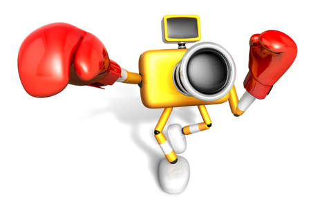 3D Yellow Camera character is doing a vigorously punching boxer. Create 3D Camera Robot Series.