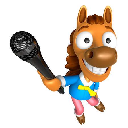 3D-paardenkarakter wijs een microfoon aan. 3D Animal Character Design Series. Stockfoto