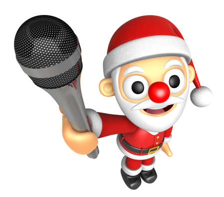 3D Santa character point a microphone. 3D Christmas Character Design Series.