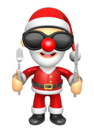 Wear sunglasses 3D Santa Mascot hand is holding a Fork and Knife. 3D Christmas Character Design Series.