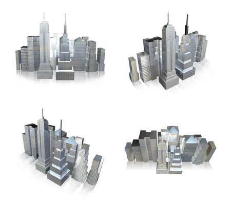 3d skyscrapers range four set Stock Photo