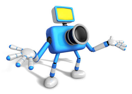 inquiry: Nonsense blue Camera Character stretched out both hands. Create 3D Camera Robot Series. Stock Photo