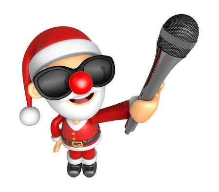 Wear sunglasses 3D Santa character is holding a microphone. 3D Christmas Character Design Series. Stock Photo