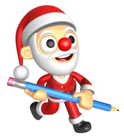 3D Santa Mascot holding a big board with both Pencil. 3D Christmas Character Design Series. Stock Photo