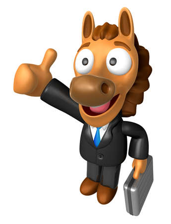 quartet: 3D Horse Mascot the right hand best gesture and left hand is holding a briefcase. 3D Animal Character Design Series.