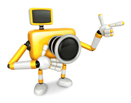 The Yellow Camera Character Taking the right hand is the best gesture. Instructed to gesture with the left hand is taking.  Create 3D Camera Robot Series.