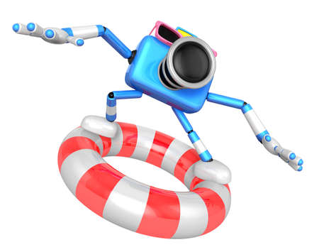 3d Blue Camera character surfing on lifebuoy. Create 3D Camera Robot Series. Stock Photo