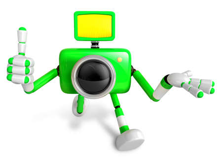 The Green Camera Character Taking the right hand is the best gesture. Instructed to gesture with the left hand is taking.  Create 3D Camera Robot Series.
