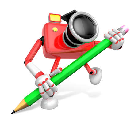 Red Camera Character pencil a handwriting. Create 3D Camera Robot Series.