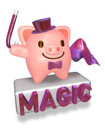 conjuror: 3d pink pig magician showing his magic