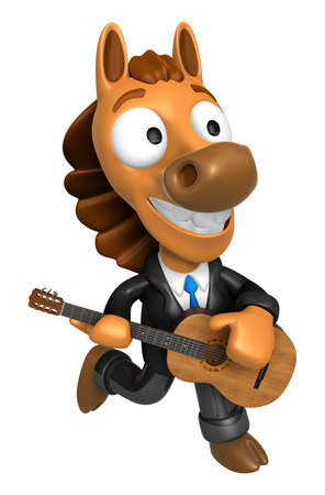 quartet: 3D Horse has to be playing the guitar. 3D Animal Character Design Series.