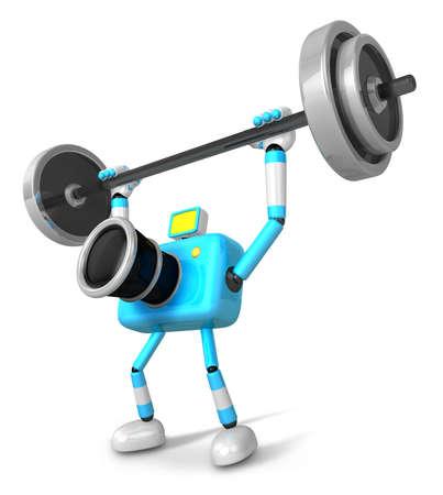 3D Cyan Camera character a Barbell Shoulders Press Exercise. Create 3D Camera Robot Series. Imagens