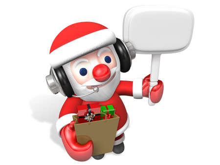 3d santa holding notice borad and shopping bag with headset